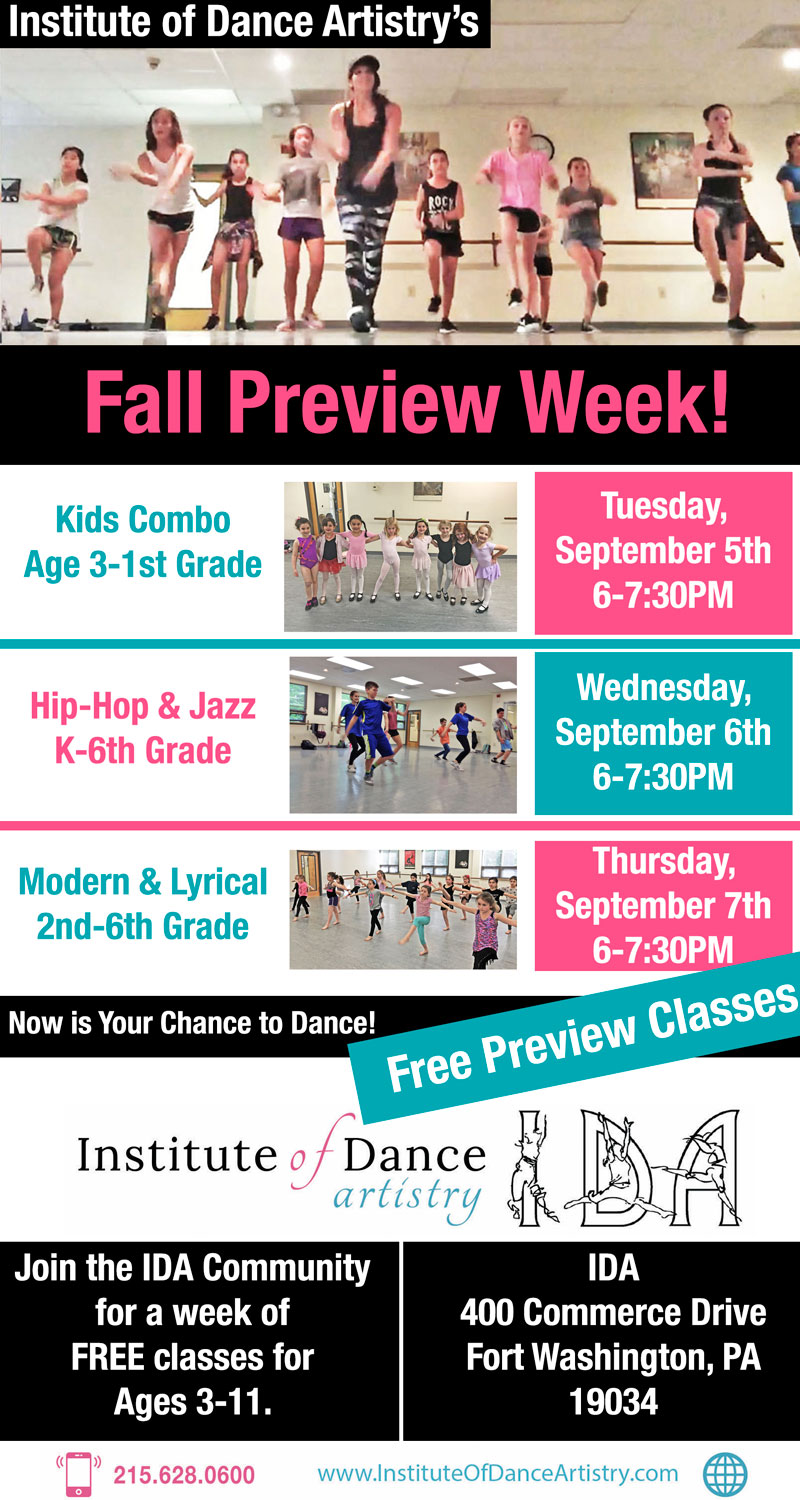 Institute of Dance Artistry (IDA) 2017 Fall Preview Week, Fort Washington PA.