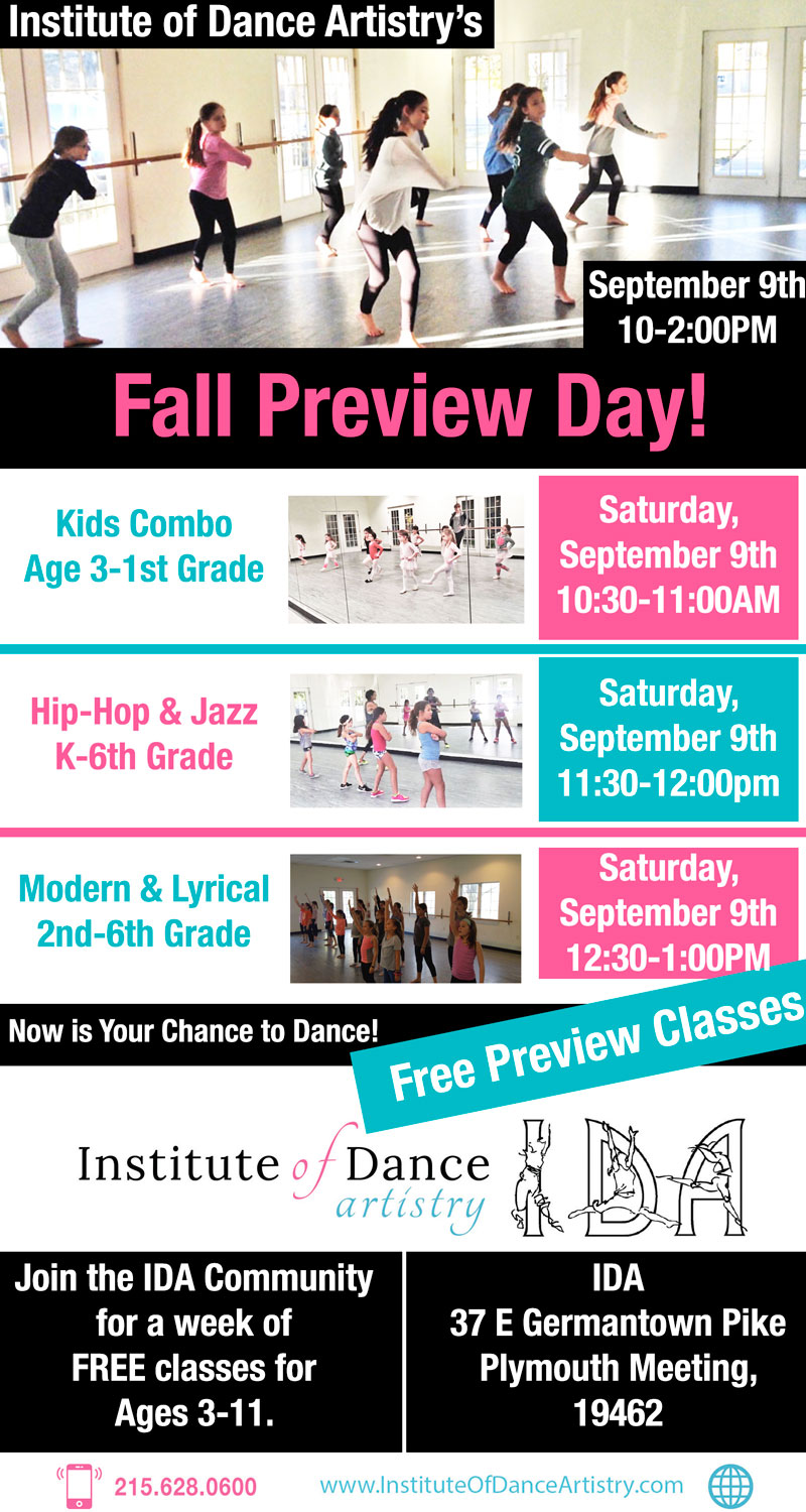 Institute of Dance Artistry (IDA) 2017 Fall Preview Day, Plymouth Meeting PA.