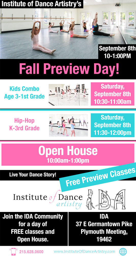 IDA, Institute of Dance Artistry 2018 Fall Preview Day, Plymouth Meeting PA.