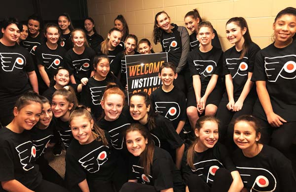 IDA, Institute of Dance Artistry, located in Fort Washington and Plymouth Meeting PA, performed at a Philadelphia Flyers game.